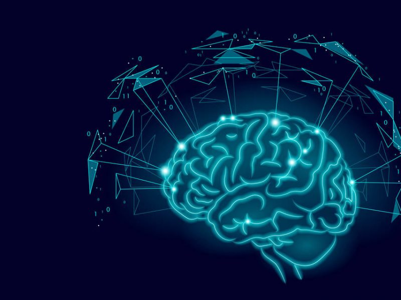 Active human brain artificial intelligence next level man menthal abilities. Technology Low Poly design augmented reality geometric shapes blue glowing. Symbol of wisdom vector illustration art